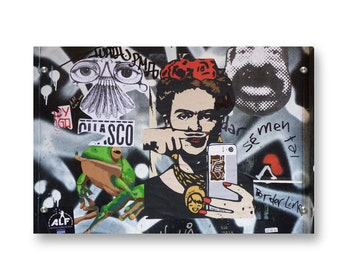 Frida Kahlo Selfie Graffiti Wall Art Printed on Refined  Aluminum
