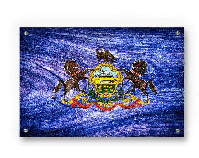 Pennsylvania State Flag Graffiti Wall Art Printed on Brushed Aluminum