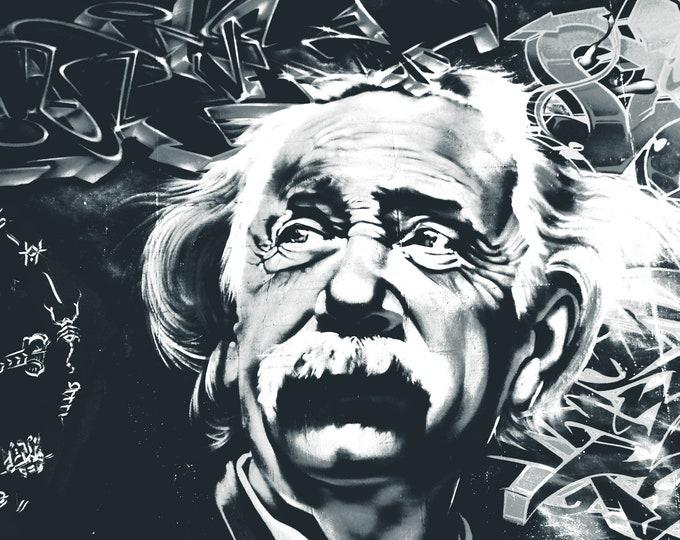 Albert Einstein Graffiti Wall Art Printed on Refined  Aluminum