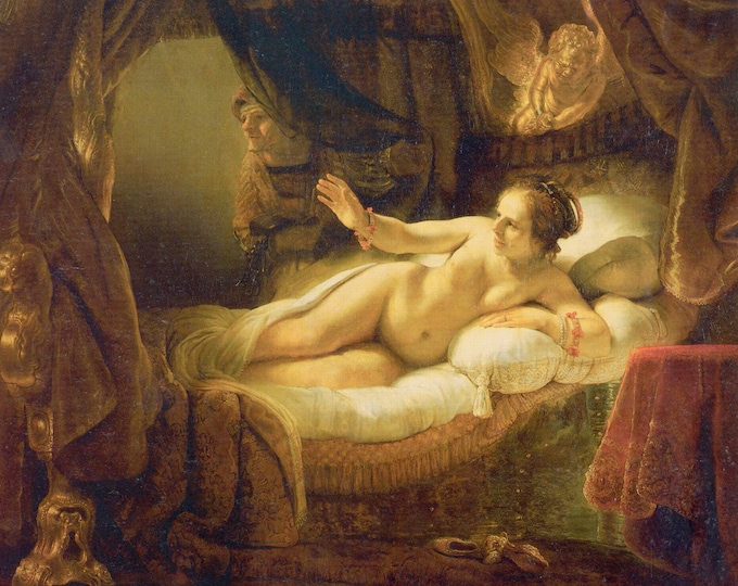 Danaë(1636) by Rembrandt Masterpiece Reproduction Printed in Refined Aluminum