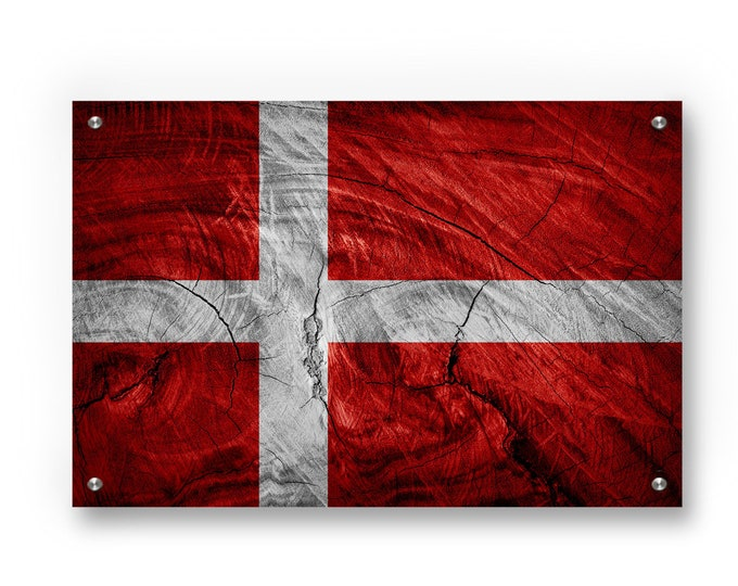 Denmark Flag Graffiti Wall Art Printed on Brushed Aluminum