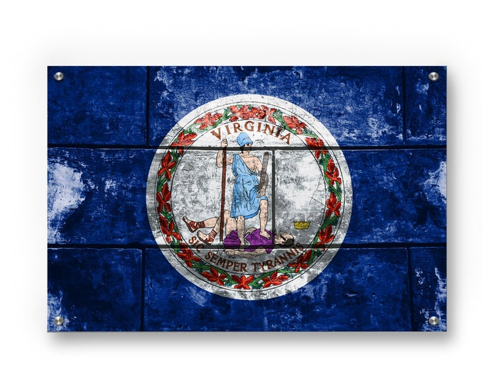 Virginia State Flag Graffiti Wall Art Printed on Brushed Aluminum