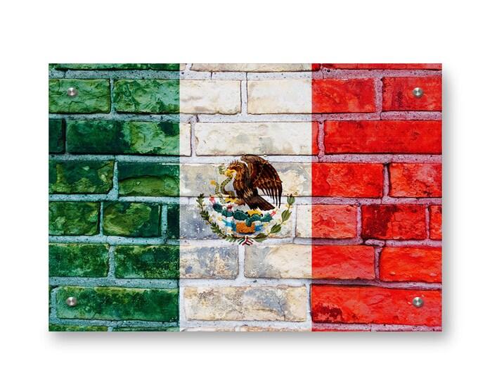 Mexican Flag Graffiti Wall Art Printed on Brushed Aluminum