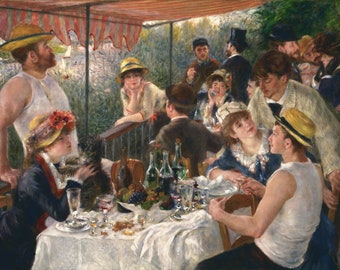 Luncheon of the Boating Party by Pierre-Auguste Renoir (1876).Masterpiece Reproduction Printed in Refined Aluminum