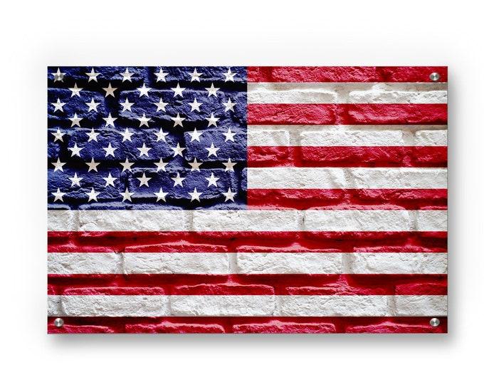 American Flag (Brick Texture) Printed on Refined Aluminum
