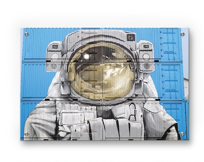 Astronaut Container Mural Graffiti wall art printed on refined aluminum