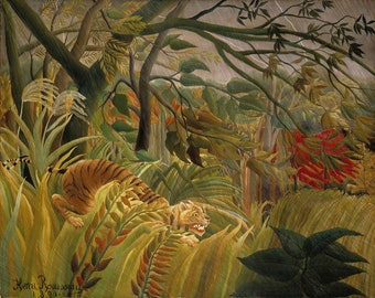 Tiger in a Tropical Storm  (1891) Henri Rousseau Masterpiece Reproduction Printed in Refined Aluminum
