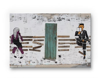 Chilling by the abstract bench Graffiti wall art printed on refined aluminum