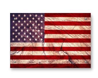 American Flag Graffiti Wall Art Printed on Brushed Aluminum