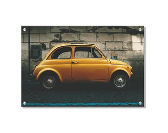Vintage Fiat 500 Metal Wall Art printed on Refined aluminum