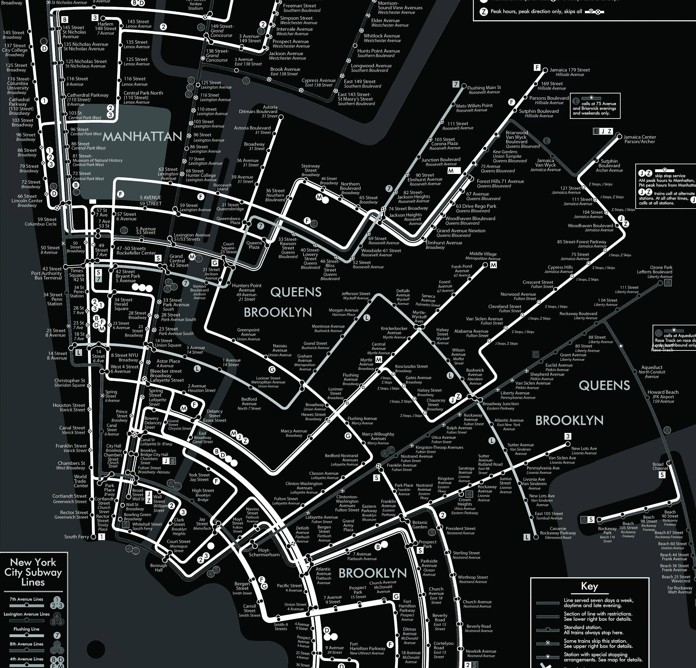 Black And White Subway Map.New York City Subway Map Black And White Wall Art Decor