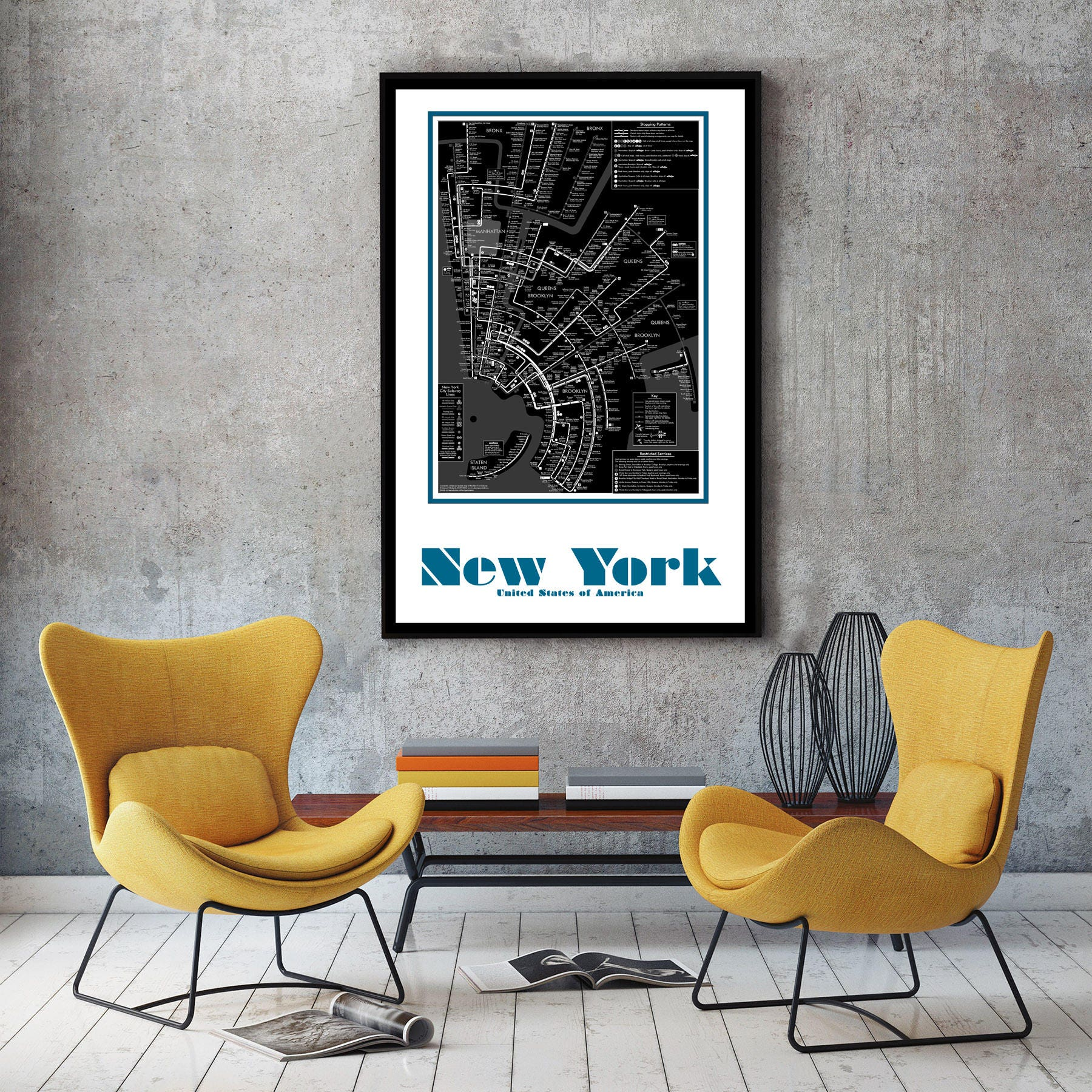 New York City Subway Map Wall Art Decor - New york city map wall art