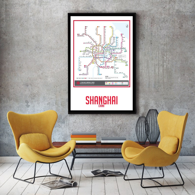 City Subway Map Art.Shanghai City Subway Map Wall Art Decor