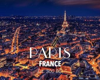 Paris at night Skyline Metal Wall Art