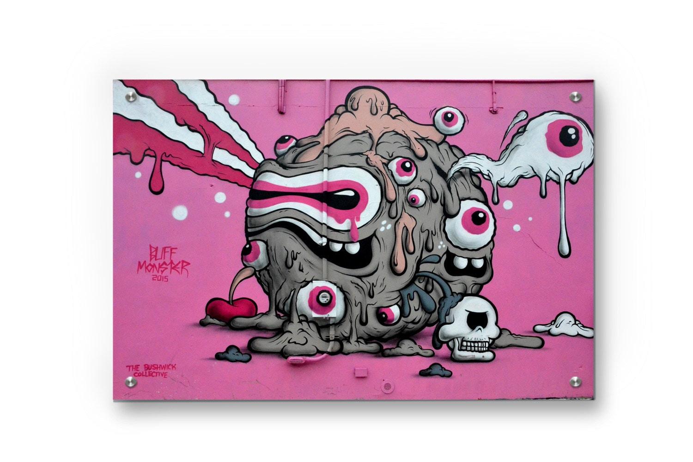 Buff Monster Graffiti Wall Art Printed On Refined Aluminum