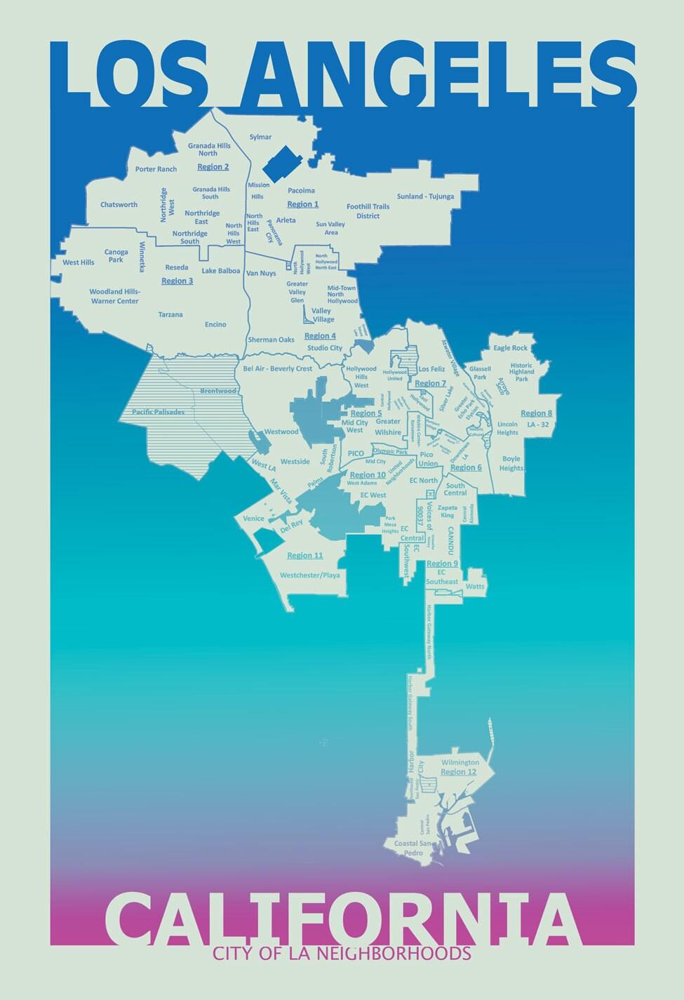 Los Angeles California Neighborhood Map Poster