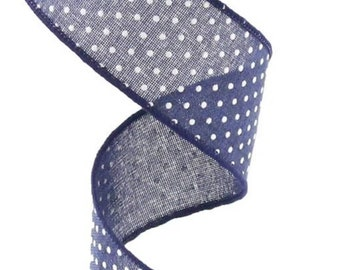 FREE SHIPPING 10 Yards 1.5 Wired Royal Blue and White Swiss Dot Ribbon