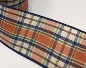 FREE SHIPPING - 50 Yards - 2.5 quot Wired Orange, Moss, Cream, and Navy Fall Plaid Ribbon