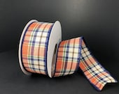 FREE SHIPPING - 10 Yards - 1.5 quot Wired Orange, Moss, Cream, and Navy Fall Plaid Ribbon