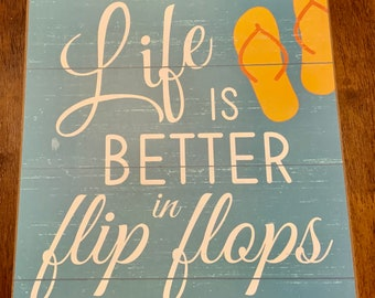 2ecb91ed40ee FREE SHIPPING - Life is Better in Flip Flops Wreath Sign