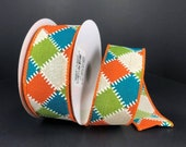 FREE SHIPPING - 10 Yards - 1.5 quot Wired Teal Fall Patchwork Ribbon