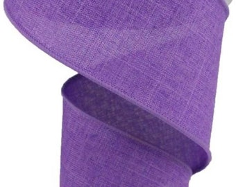 FREE SHIPPING 10 Yards 2.5 Wired Purple Linen Ribbon Solid Ribbon