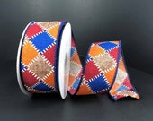 FREE SHIPPING - 10 Yards - 1.5 quot Wired Dark Denim Fall Patchwork Ribbon