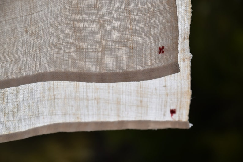 Antique Rustic C 1870 French Tablecloth Pure Linen MK Monogram Centre Seam  Homespun Hand Woven Handmade Home Decor Country Style Natural