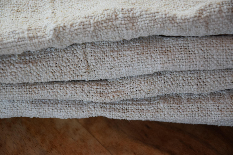 Antique Rustic Français Very Rare Straw Bed Cover Straw Sack 100% Organic Pure Hemp Material C.1860 Handmade Handwoven Upholstery Fabric