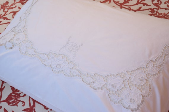 Antique Pair French Pillowcases Linen