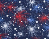 Patriotic Blue, Red, and White Fireworks on Blue Background Cloth Mask