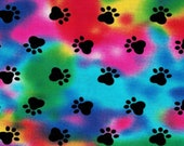 Pawprints on Tie Dye Cloth Mask