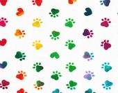Rainbow Doggie Pawprints on White Background Cloth Mask