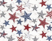 Patriotic Blue, Red, and Gray Large Stars on White Background Cloth Mask