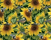 Sunflowers and Birds Cloth Mask