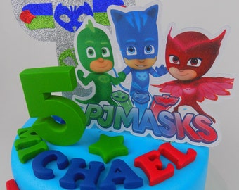 Pj Masks Cake Topper Decoration Birthday Sugar Paste Edible