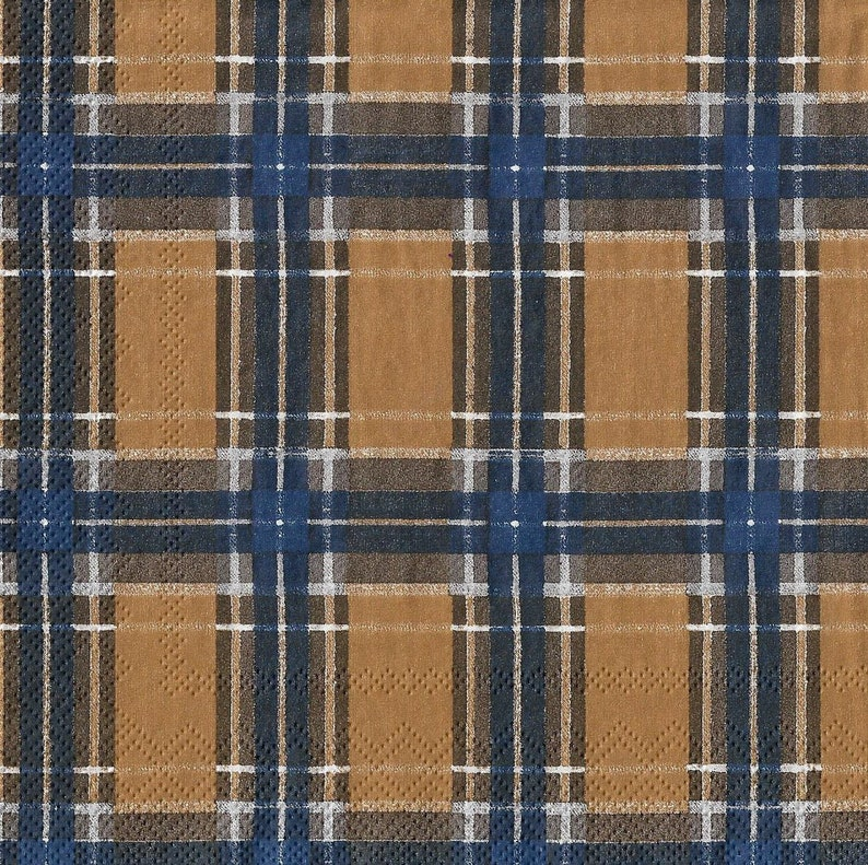 1 freegridlines-stripes-Brown and Navy Blue33 cm x 33 cmscrapbooking Pack of 3 beautiful paper towels