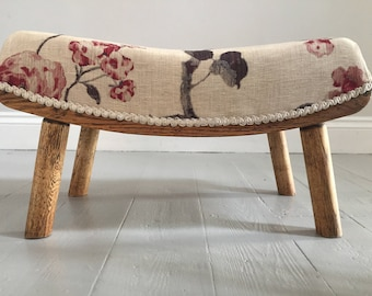 Upholstered Arts and Crafts Footstool Floral fabric