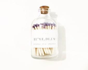 Matchstick Bottle   80 Matchsticks in Apothecary Jar with Cork Lid   Remedium Matchsticks   Candle Matches   Purple Lilac Lavender Matches