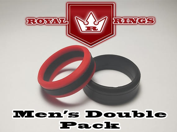 Husband Men/'s Silicone Wedding Rings Double Pack Set 5 Durable Flexible Wedding Ring Band Military Firefighter Crossfit Gym Fitness