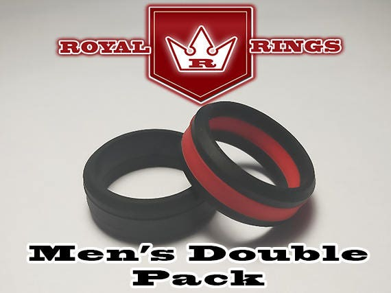 Men S Silicone Wedding Rings Double Pack Set 6 Durable Flexible Wedding Ring Band Military