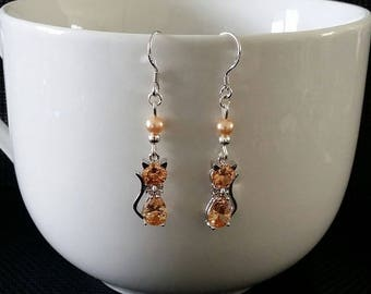 """""""Orange cat"""" earrings 4 cm"""