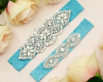 turquoise wedding women bridal garter satin garter lace garter turquoise garter satin lace flower bride wedding turquoise white 0870