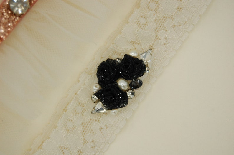 Rhinestone and Pearls Lace Garter Set Garter for Wedding Ivory Wedding Garter Rose Pink Garter Black Roses Ruffled Tulle Garter