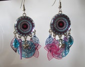 prints and pink and turquoise mandala cabochon earrings