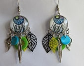 Earrings prints and cabochon dream catcher