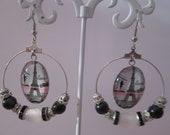 Earrings cabochon Eiffel Tower earrings