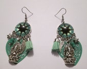 Green and black prints and geometric cabochon earrings