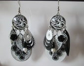 prints and cabochon pattern geometric earrings black and white