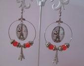 Earrings hoop earrings cabochon Eiffel Tower and his reindeer